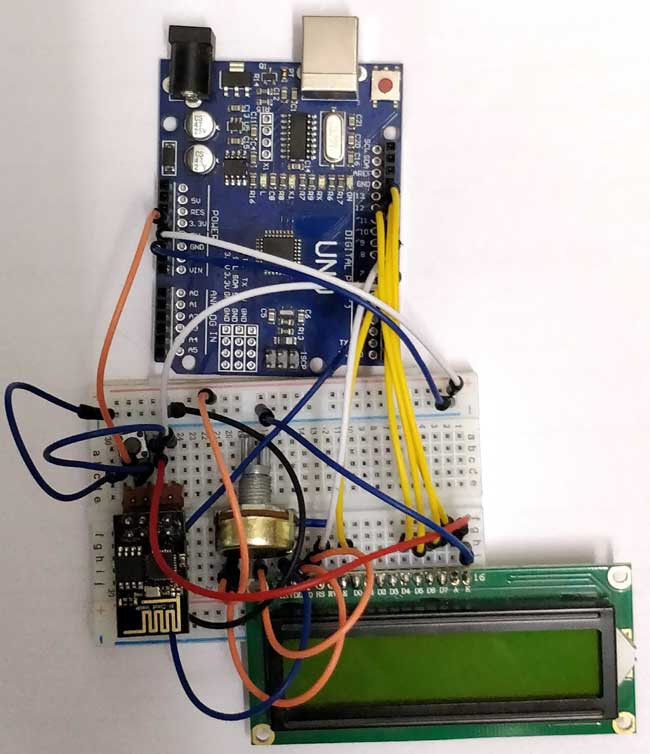 Interfacing Arduino with ESP8266 circuit hardware