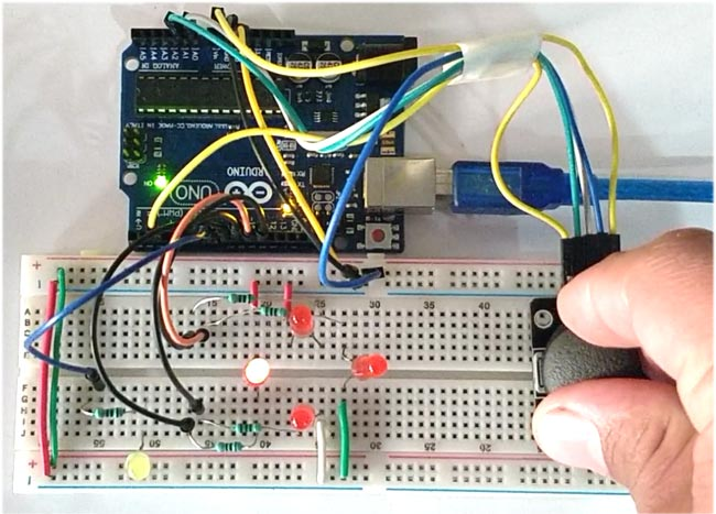 Interfacing Joystick with Arduino in action
