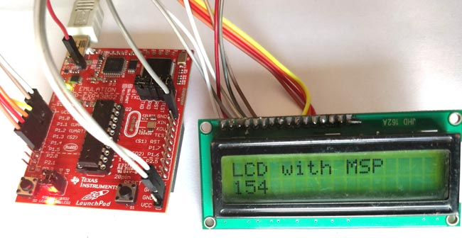 LCD with MSP430G2 LaunchPad in action