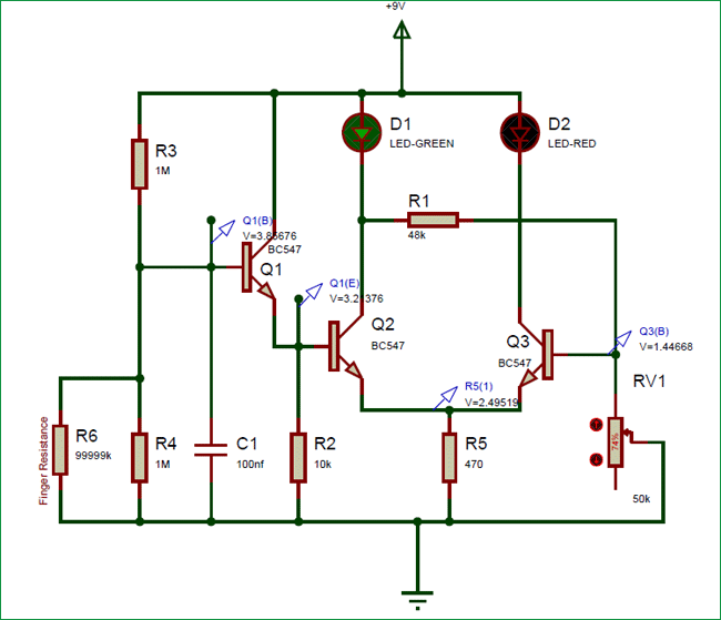 Simple Lie Detector Circuit using Transistors