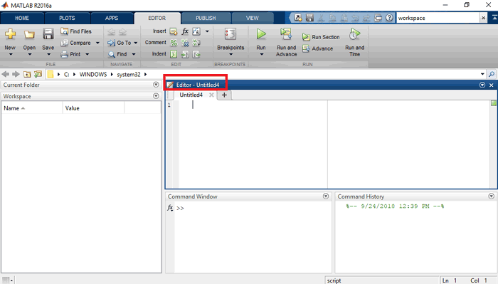 MATLAB Editor Window