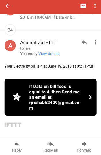 Mail Received on Gmail from IFTT server