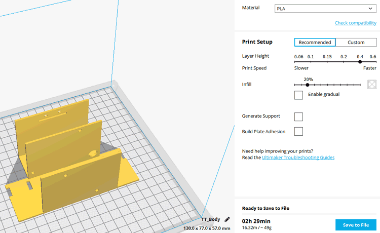 Manual Setting in Cura for Self Balancing Robot