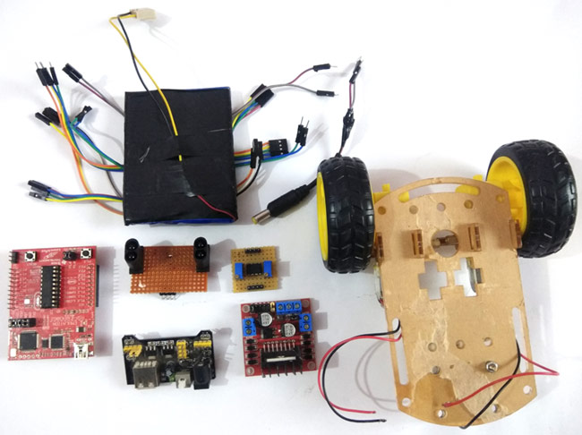 Material Required for Line Follower Robot Using MSP430 LaunchPad