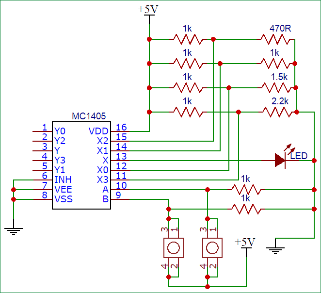 multiplexer circuit diagram using ic4052
