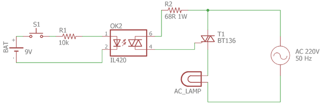 Optocoupler for Controlling AC Circuit using DC voltage