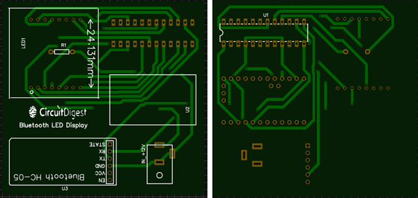 PCB designed using EasyEDA for bluetooth controlled matrix display