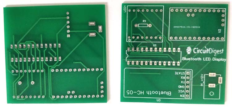 PCB manufactured by JLCPCB for bluetooth controlled matrix display