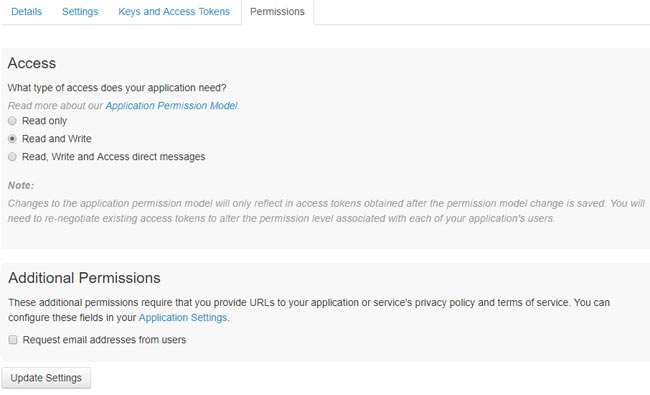 Permission access page for the application