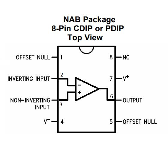 Op Amp IC 741'in pin diyagramı