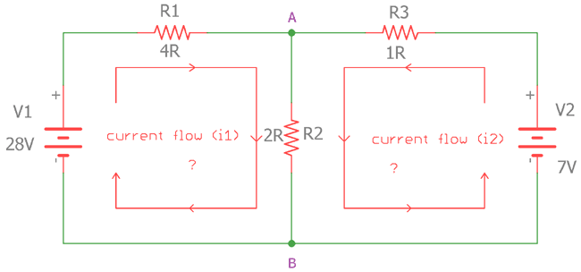 Practical example circuit using KCL and KVL