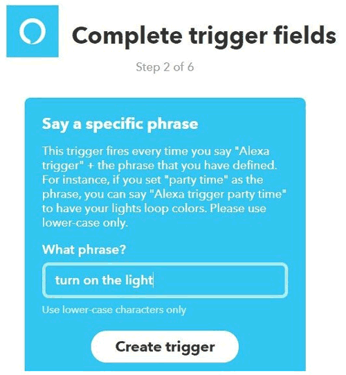 Provide Phrase and create trigger for alexa on IFTT