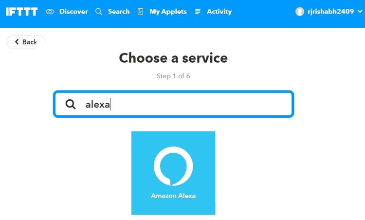 Search Amazon Alexa on IFTT