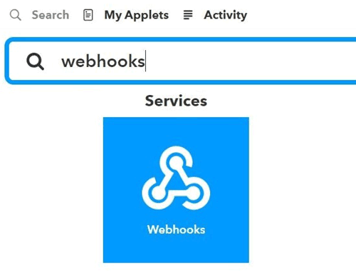 Search for Webhooks in IFTTT