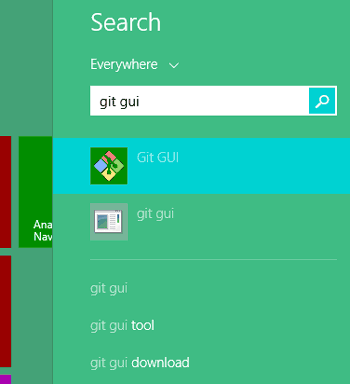 Search for the name GIT GUI