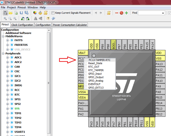 Select Pin Configuration for STM32F103C8 in STM32CubeMX