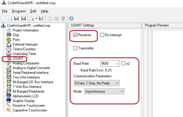 Select Receiver option in USART