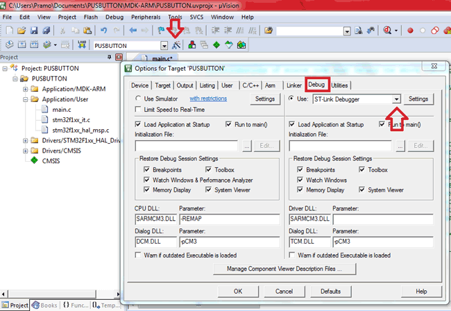 Select ST-Link Debugger