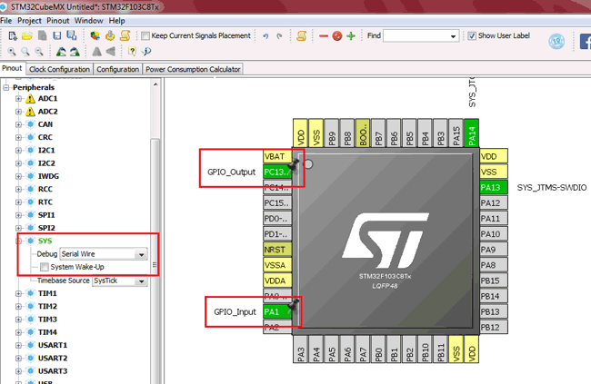 Selected IO Configuration for STM32F103C8 in STM32CubeMX
