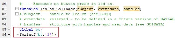 Sending data via Bluetooth from MATLAB to Arduino using MATLAB GUI