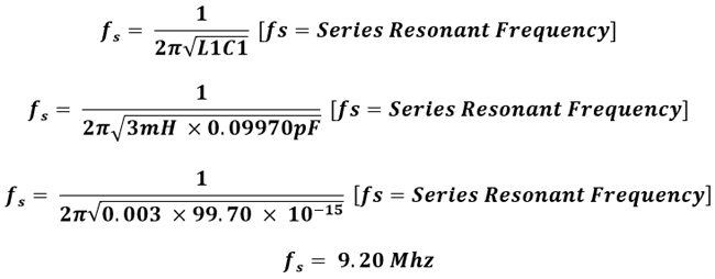 Series resonant frequency of the crystal