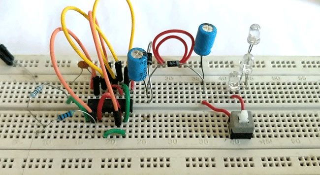 Setting up circuit on breadboard of Simple LED Torch Circuit using 4049 IC