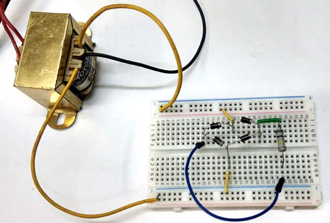 Simple Bridge Rectifier Circuit Hardware