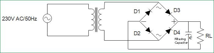 Simple Bridge Rectifier Circuit with Filter