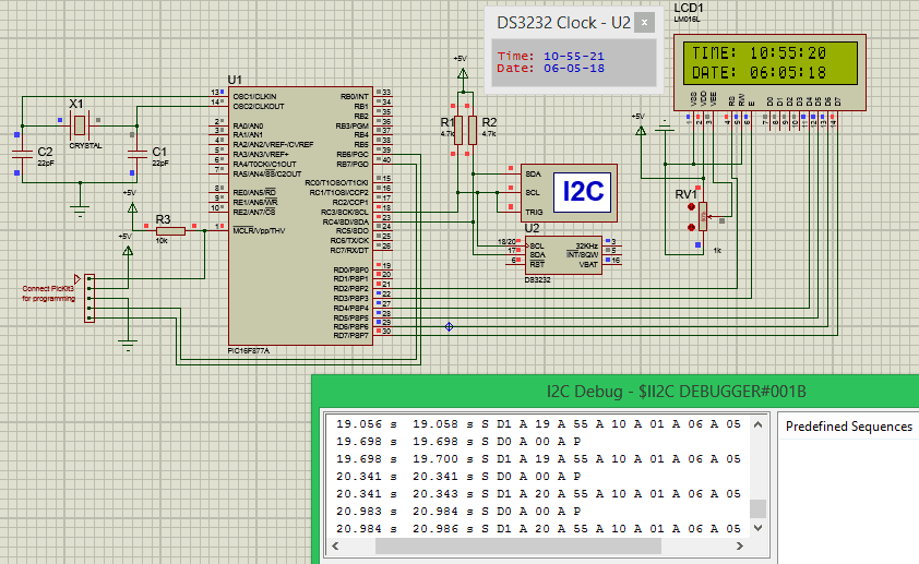 Simulation of RTC Module (DS3231)with PIC microcontroller