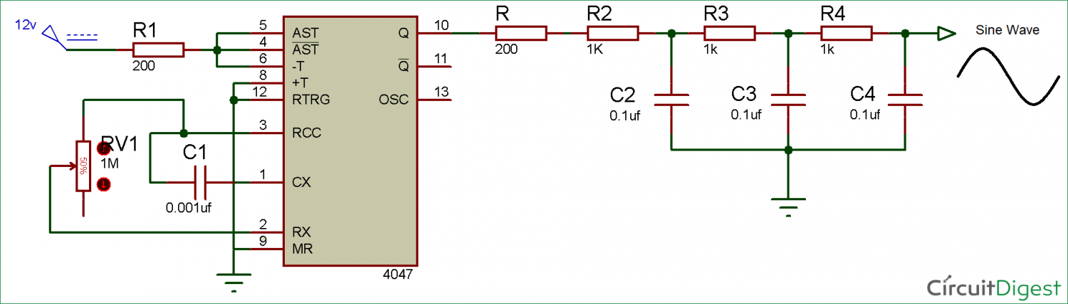Generator Circuit Diagram | Square Wave Generator Circuit Using 4047 Ic