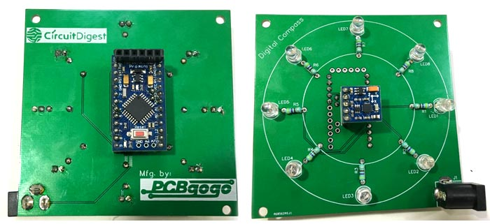 Soldered Components on PCB for Digital Compass