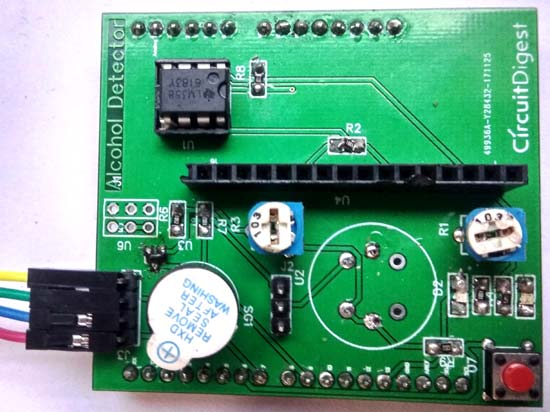 Soldered PCB with components
