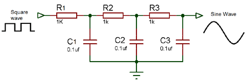 Square to sine wave converter circuit