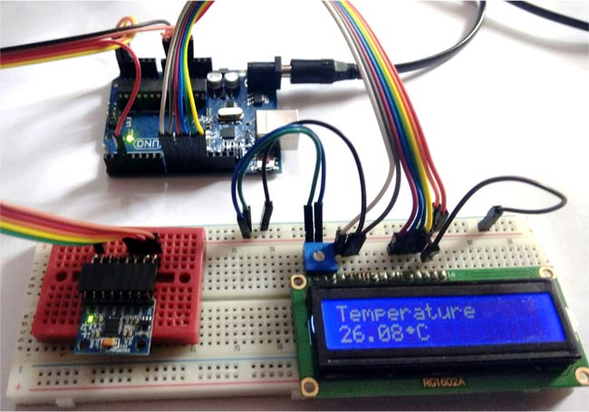 Temperature readings over LCD using MPU6050 with Arduino