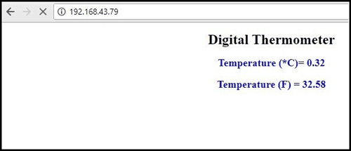 Temperature shown on web browser