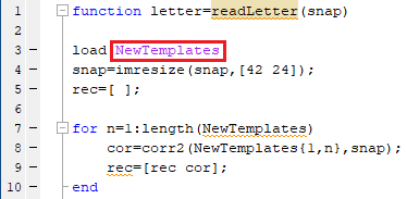 Template m-file Calling in Letter Detection m-file in -MATLAB
