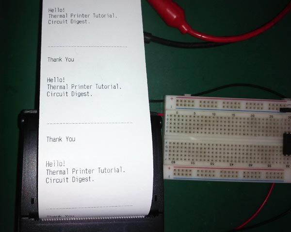 Testing Thermal Printer interfacing with PIC16F877A