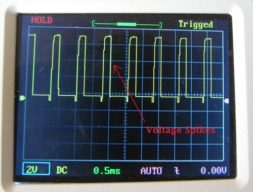 Thyristor Switching waveform without Snubber Circuit