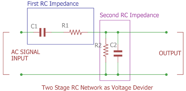 Two stage RC network as Voltage Divider