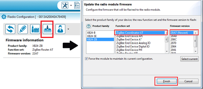 Updating firmware for XBee module