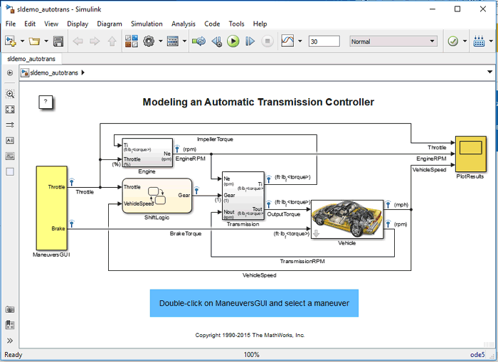 Vehicle auto gear transmission Model example in Simulink