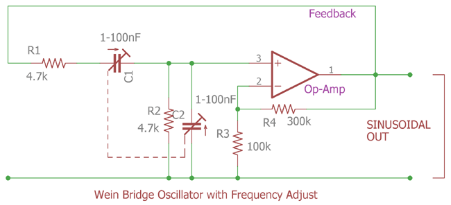 Wein Bridge Oscillator on spectrum analyzer schematic, signal generator schematic, electronic mixer schematic, tone control circuit schematic, ammeter schematic, voltmeter schematic, voltage divider schematic, led circuit schematic, breadboard schematic, frequency counter schematic, transistor tester schematic, function generator schematic, current source schematic, gyrator schematic, marx generator schematic, lead-lag schematic, multimeter schematic, esr meter schematic,