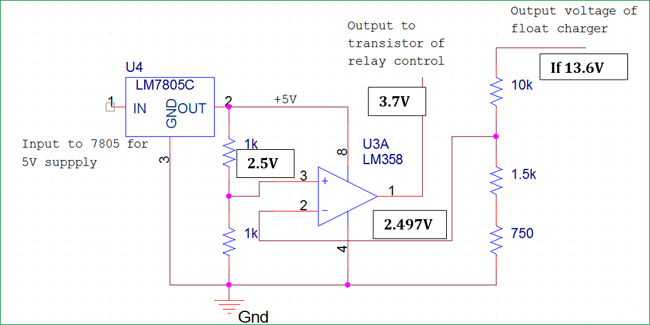automatic cut off relay section for float charger circuit 1