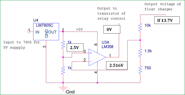 automatic cut off relay section for float charger circuit 2