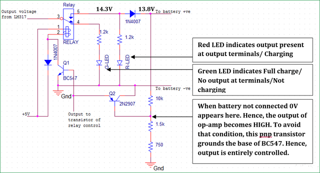 operation of relay LEDs and control transistors for float charger circuit for 12v battery