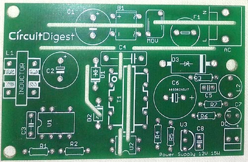 12v 1A SMPS Circuit PCB Front Side