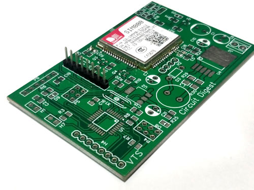Assembled PCB for GSM Location Tracker