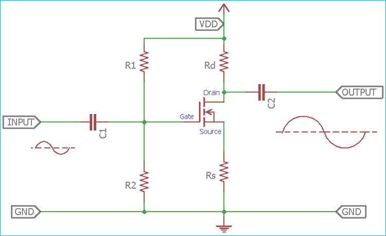 Basic Common Source Amplifier Construction with Single MOSFET