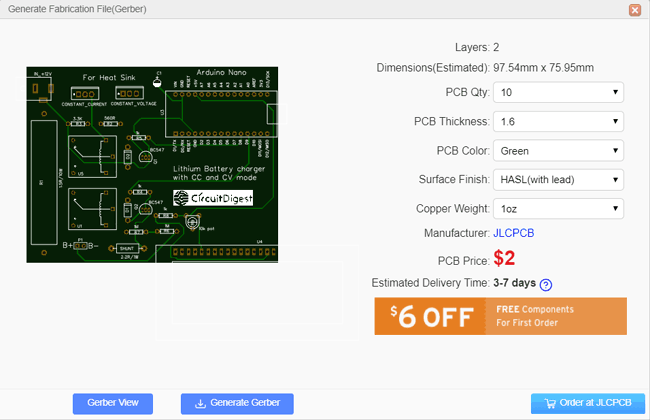 Calculating Cost for the Lithium Charger PCB