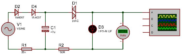 circuit diagram for blink led using diac